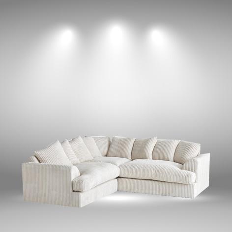 Nevada Cream Fabric Jumbo Cord Corner Sofa - My Sofa World