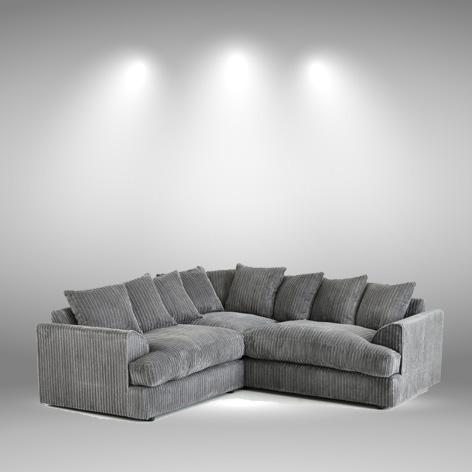 Nevada Charcoal Fabric Jumbo Cord Corner Sofa - My Sofa World